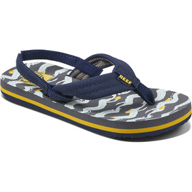 Reef Ahi Sandals Kids, navy yellow fish
